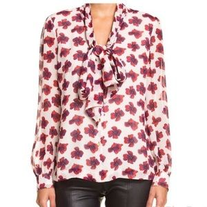 TORY BURCH//sheer floral long sleeve pussy-bow top